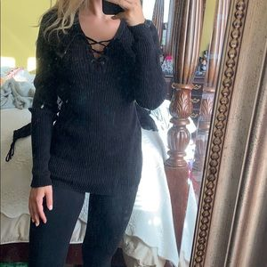 Tops - Black long sleeve lace up top